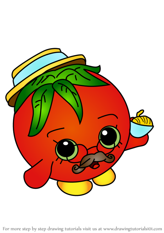 Step By Step How To Draw Papa Tomato From Shopkins Drawingtutorials101 Com