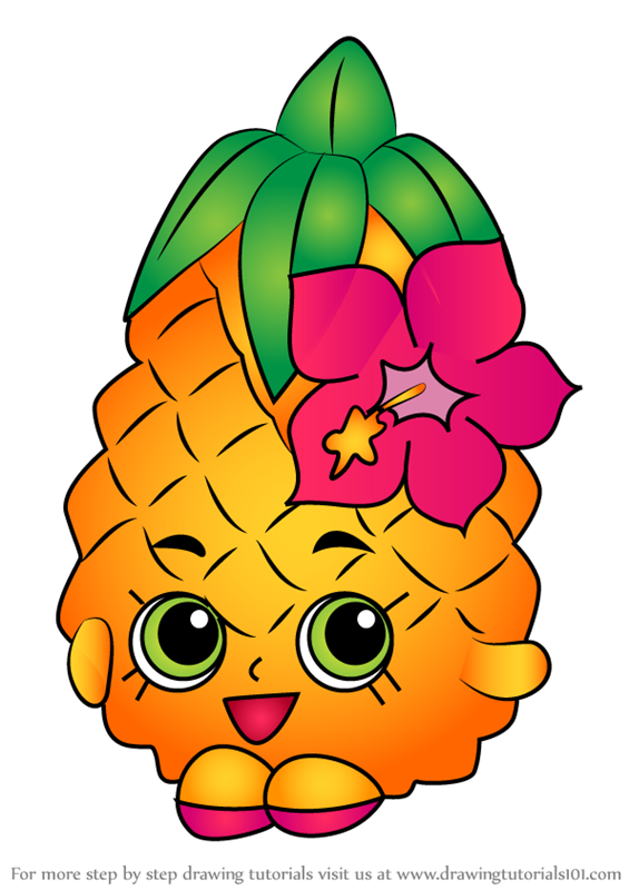 Learn how to draw pineapple crush from shopkins shopkins step by