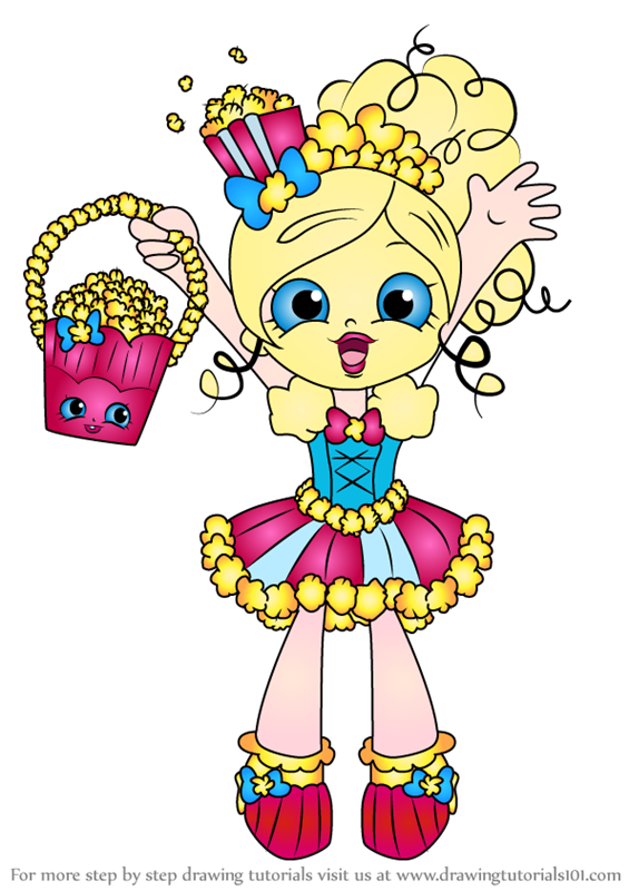 shoppie coloring pages - learn how to draw popette from shopkins shopkins step by