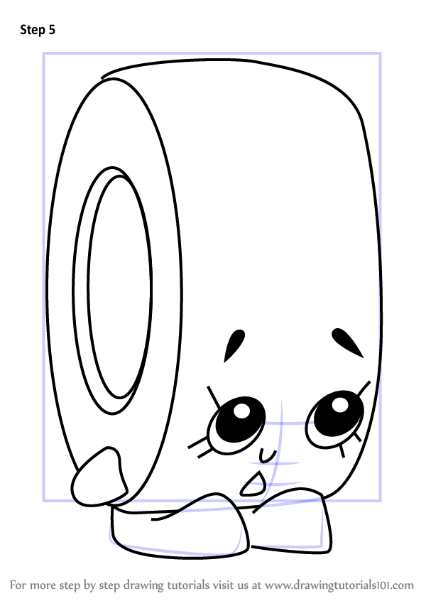 Learn How To Draw Rolla Tape From Shopkins Shopkins Step