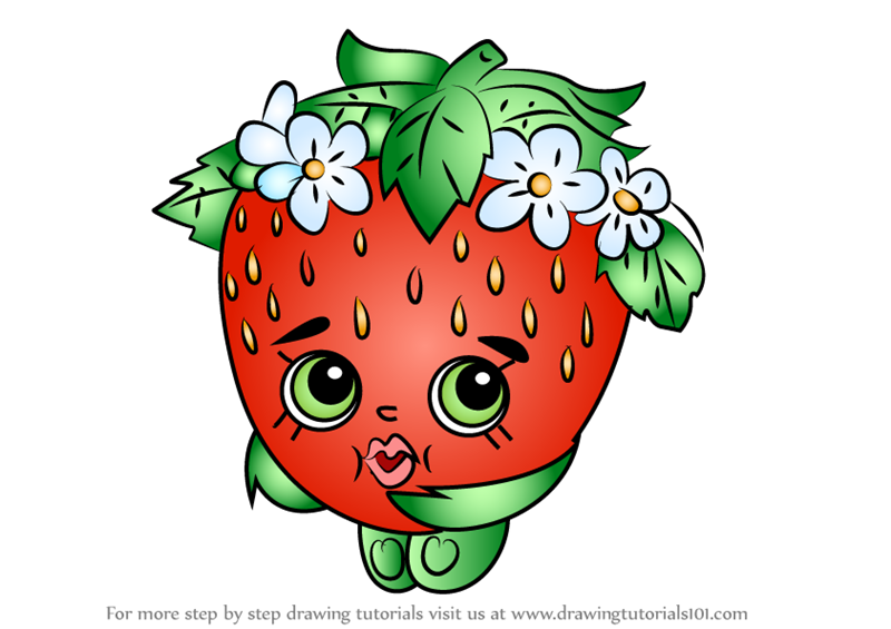 learn how to draw strawberry kiss from shopkins shopkins step by