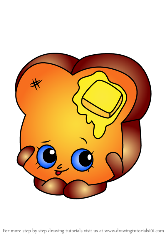 learn how to draw toastie bread from shopkins shopkins step by