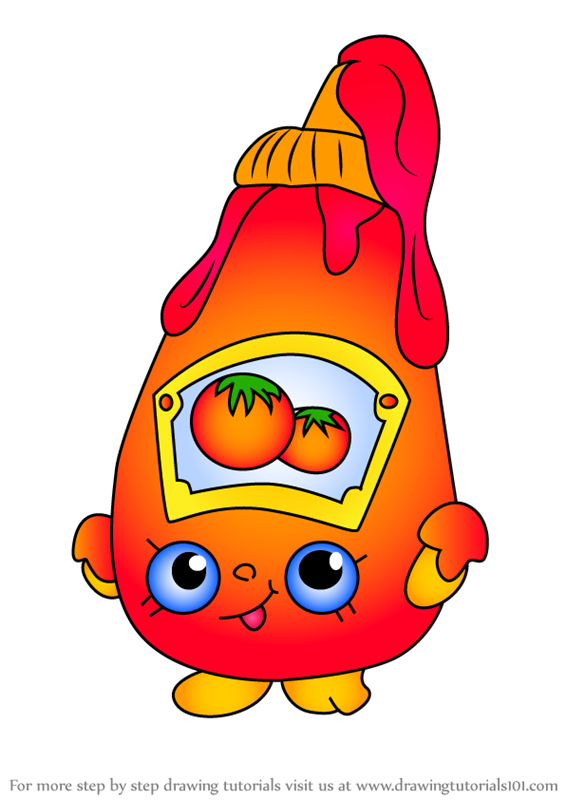 Learn How To Draw Tommy Ketchup From Shopkins Shopkins