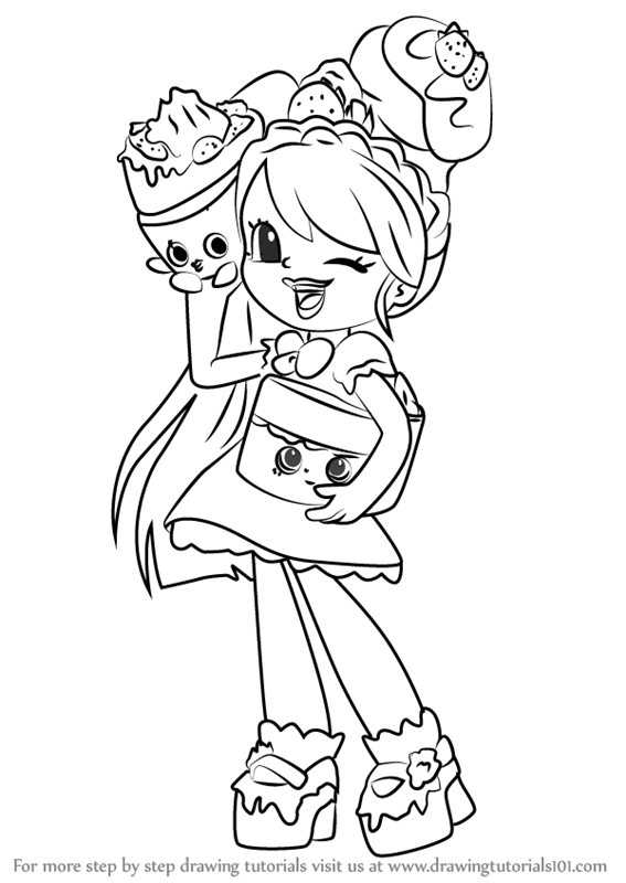 Learn How to Draw Pam Cake from Shoppies Shoppies Step