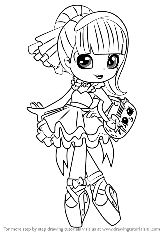 shoppie doll coloring pages - learn how to draw pirouetta from shoppies shoppies step