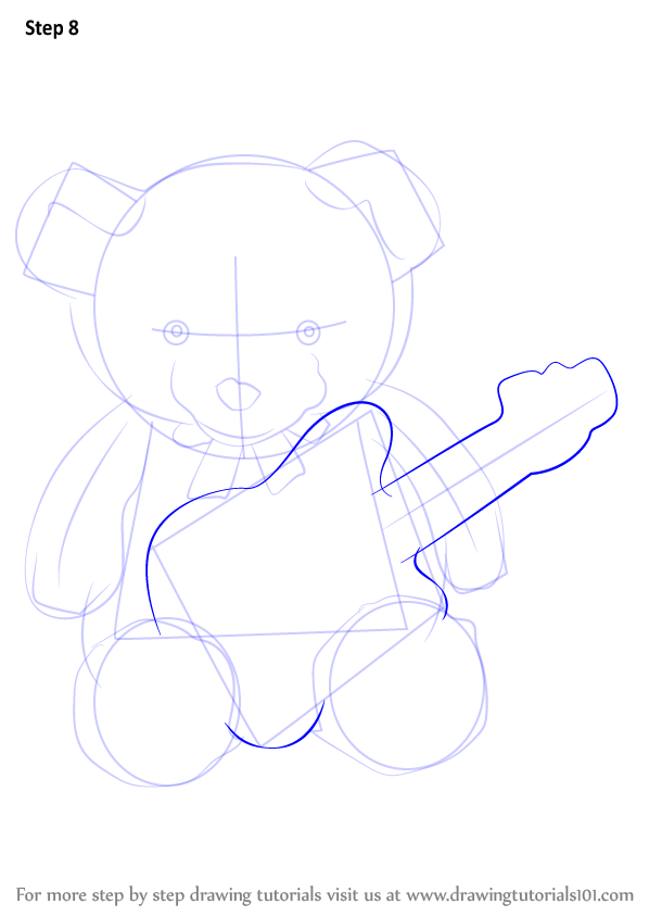Learn How To Draw Teddy Bear With Guitar Soft Toys Step