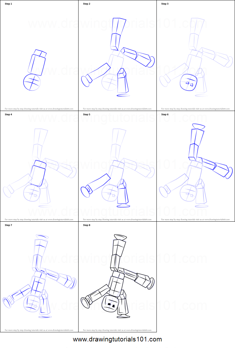 How to Draw Stikbot printable step