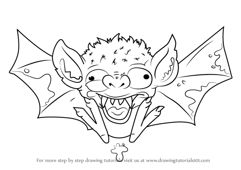 Step by step how to draw bogus bat from the ugglys pet for Ugglys pet shop coloring pages
