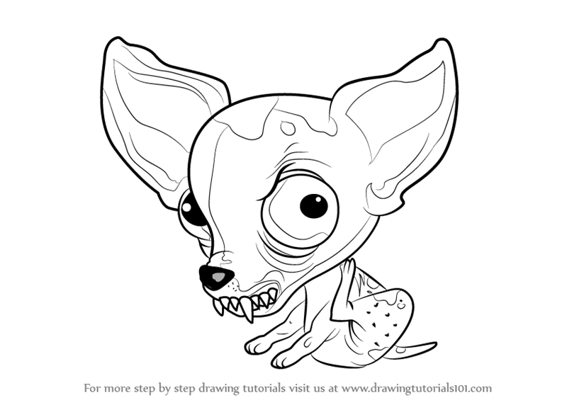 how to draw chucky chihuahua from the ugglys pet shop