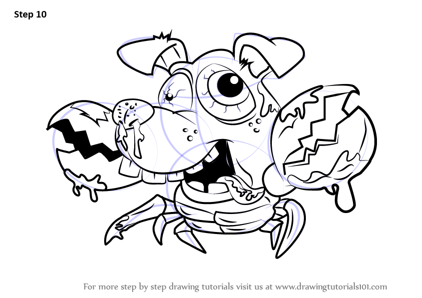 Step by step how to draw crabrador from the ugglys pet for Ugglys pet shop coloring pages