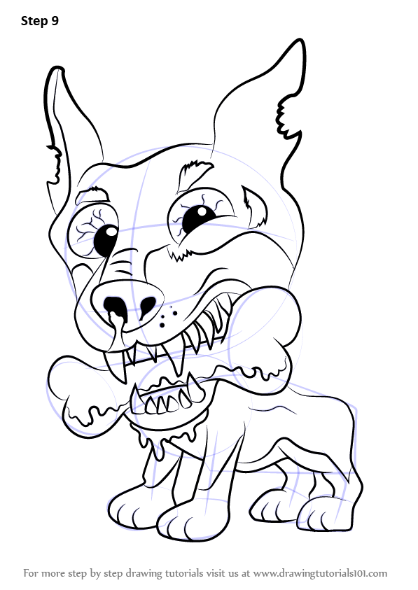 Step by step how to draw dopey doberman from the ugglys for Ugglys pet shop coloring pages