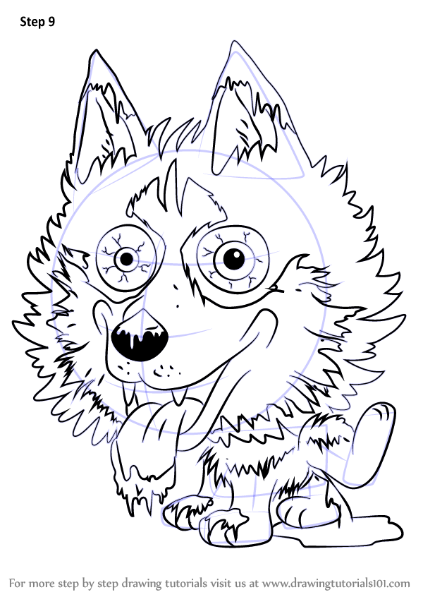 Step by step how to draw hideous husky from the ugglys pet for Ugglys pet shop coloring pages