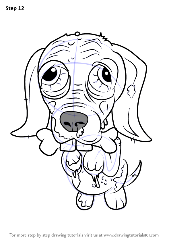 Step by step how to draw scare dale terrier from the for Ugglys pet shop coloring pages