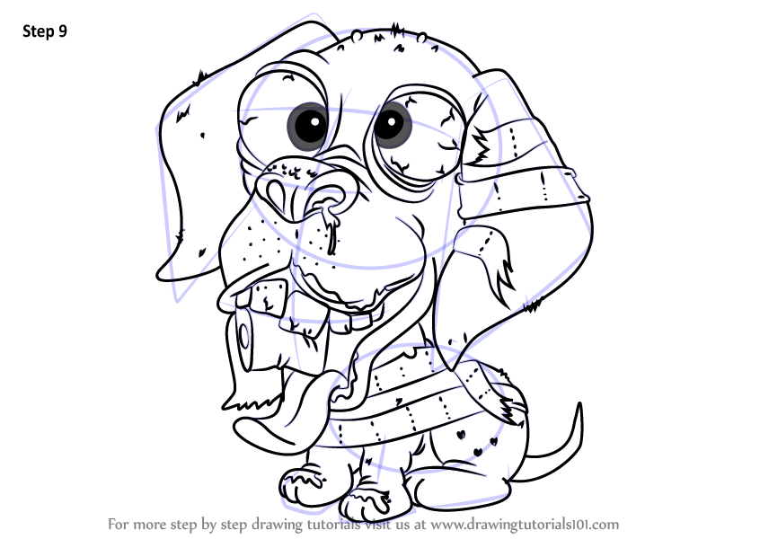Step by step how to draw slobrador from the ugglys pet for Ugglys pet shop coloring pages