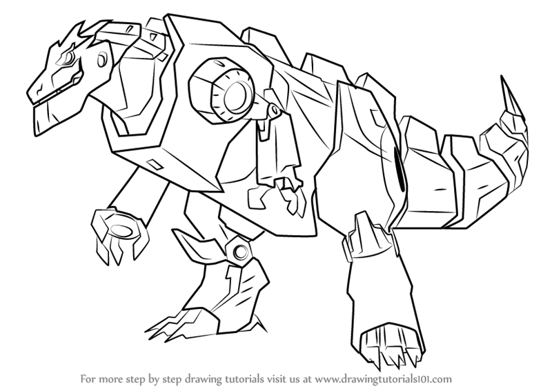 Learn How To Draw Grimlock Disguised From Transformers