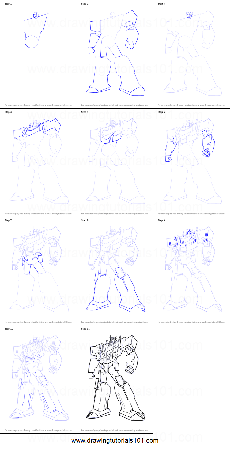 How To Draw Optimus Prime From Transformers Printable Step By Step