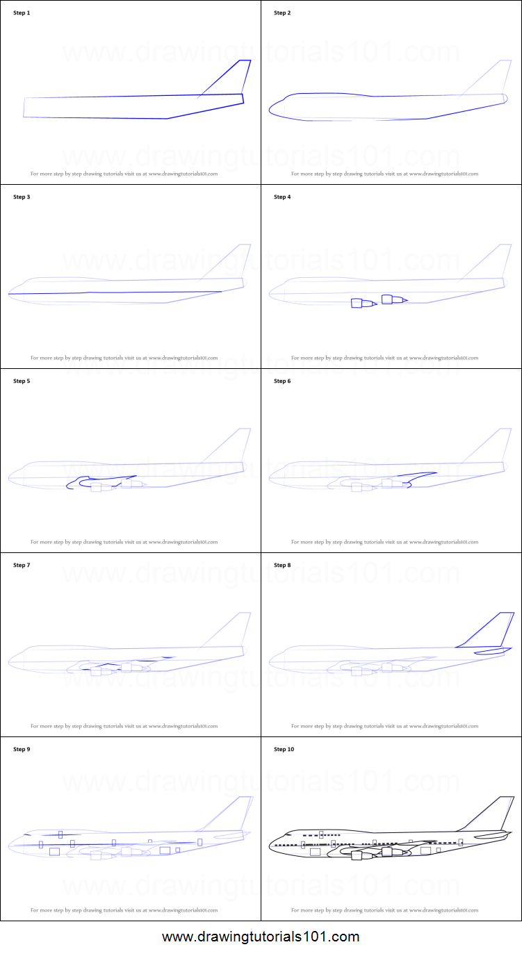 Step by step drawing tutorial on how to draw aeroplane sideview