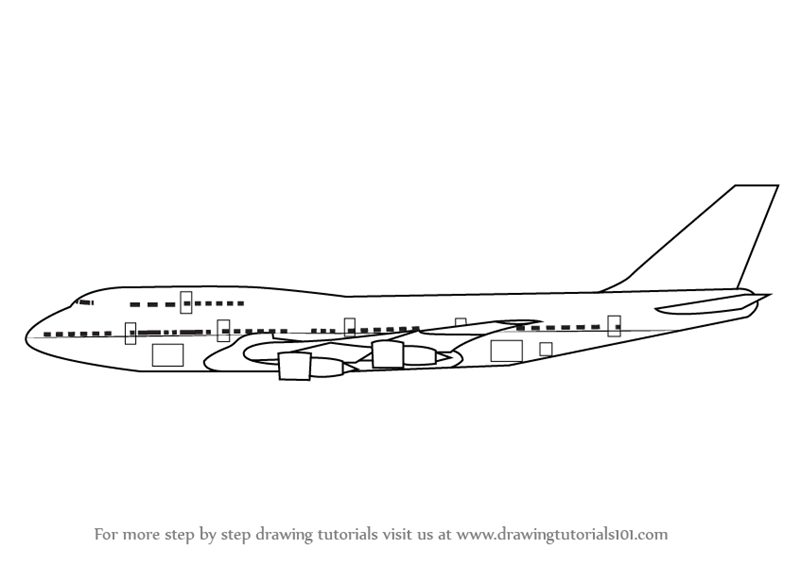 Learn How To Draw Aeroplane Sideview Airplanes Step By Step