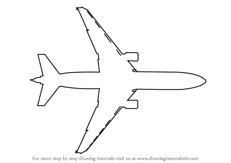 how to draw an aeroplane topview