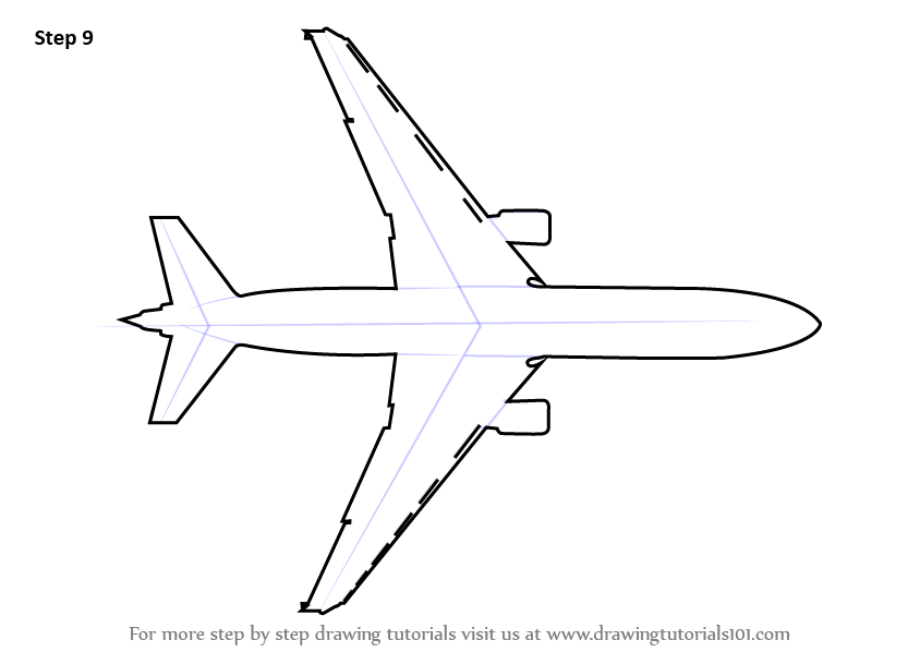 learn how to draw an aeroplane topview  airplanes  step by