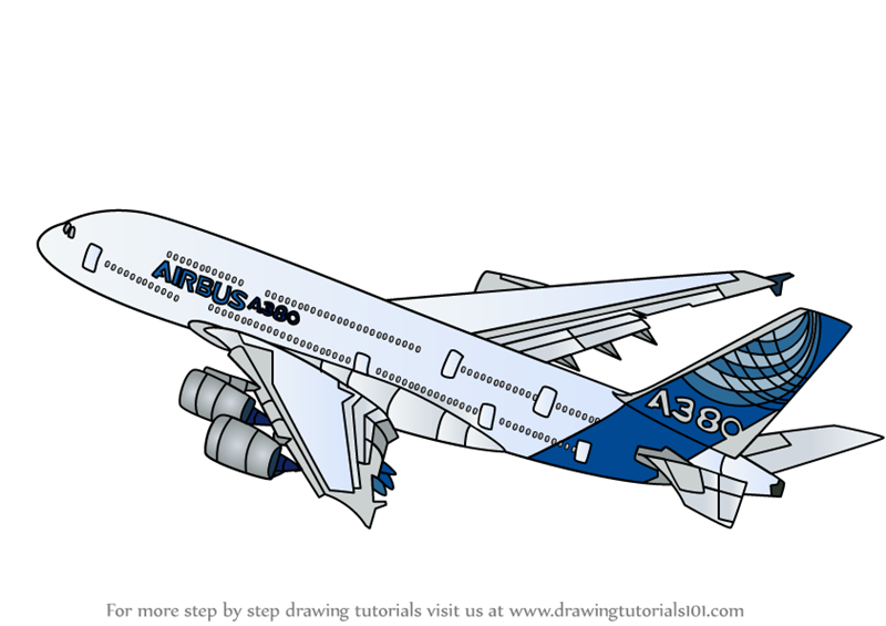 Learn How To Draw Airbus A380 Airplanes Step By Step Drawing