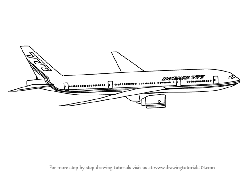 learn how to draw a boeing 777 airplanes step by step drawing
