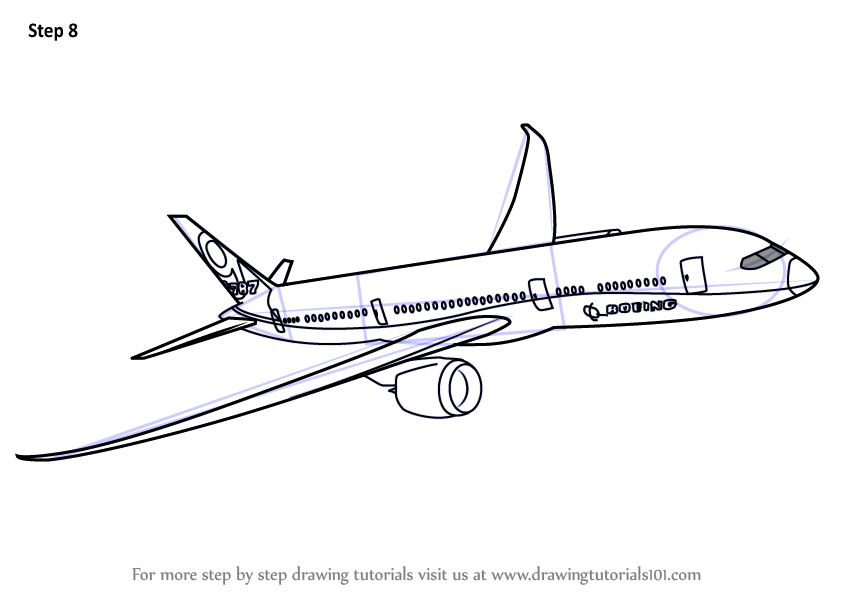 Learn How To Draw A Boeing 787 Airplanes Step By Step