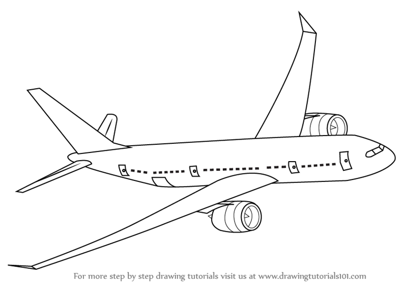 Learn How To Draw Flying Boeing Aeroplane Airplanes Step By Step