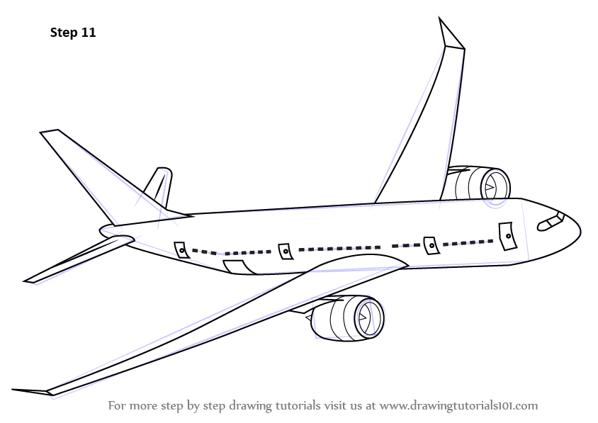 Step by step how to draw flying boeing aeroplane for Free online drawing lessons step by step