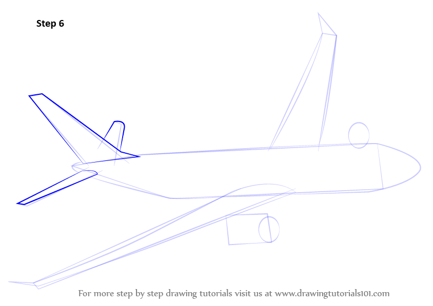 Learn How To Draw Flying Boeing Aeroplane Airplanes Step