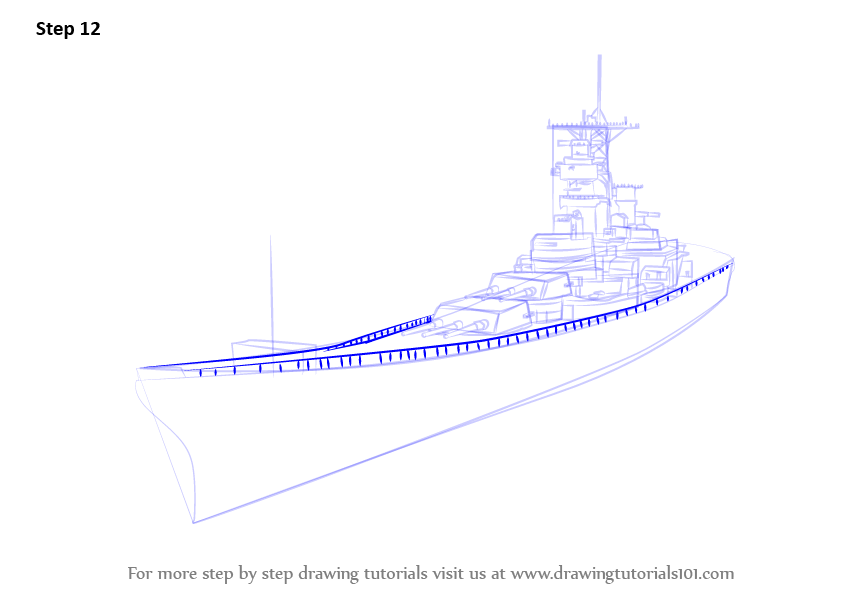Learn How To Draw Uss Missouri Aka Big Mo Battleships