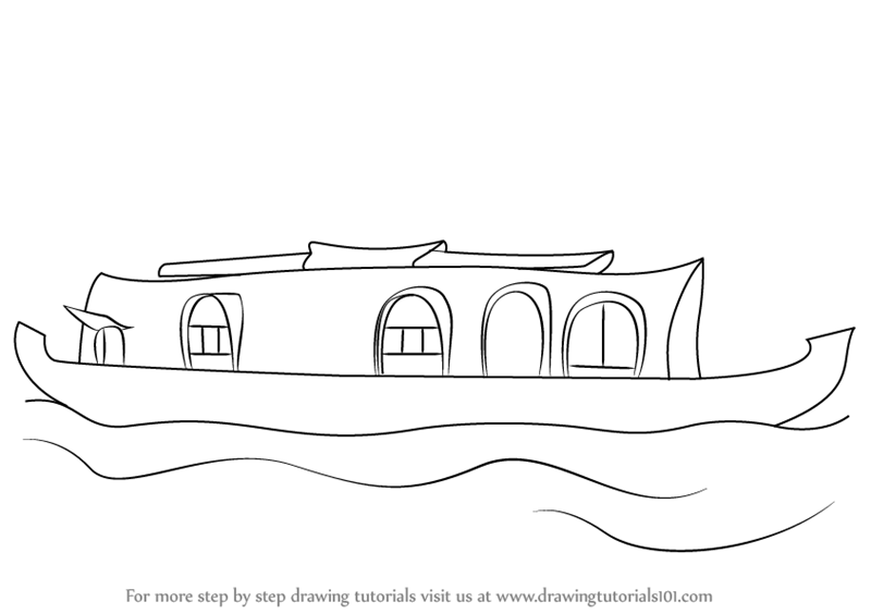Learn How To Draw A Boat House Boats And Ships Step By Step