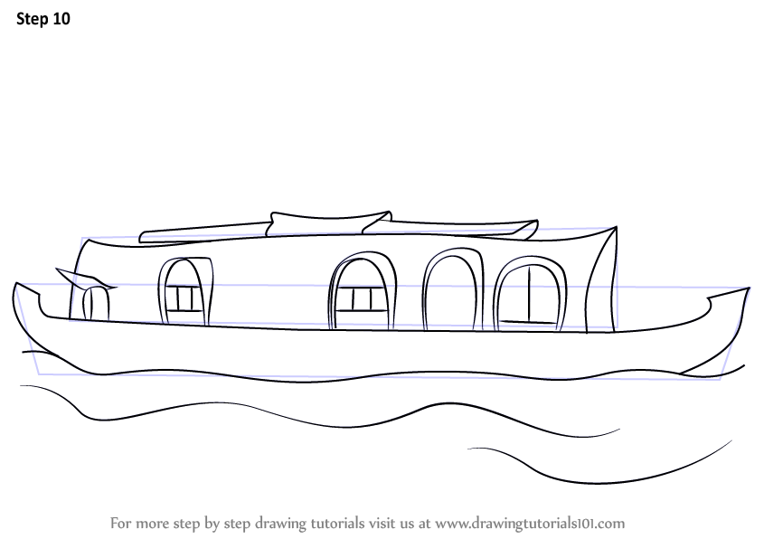 Learn How To Draw A Boat House (Boats And Ships) Step By Step  Drawing Tutorials