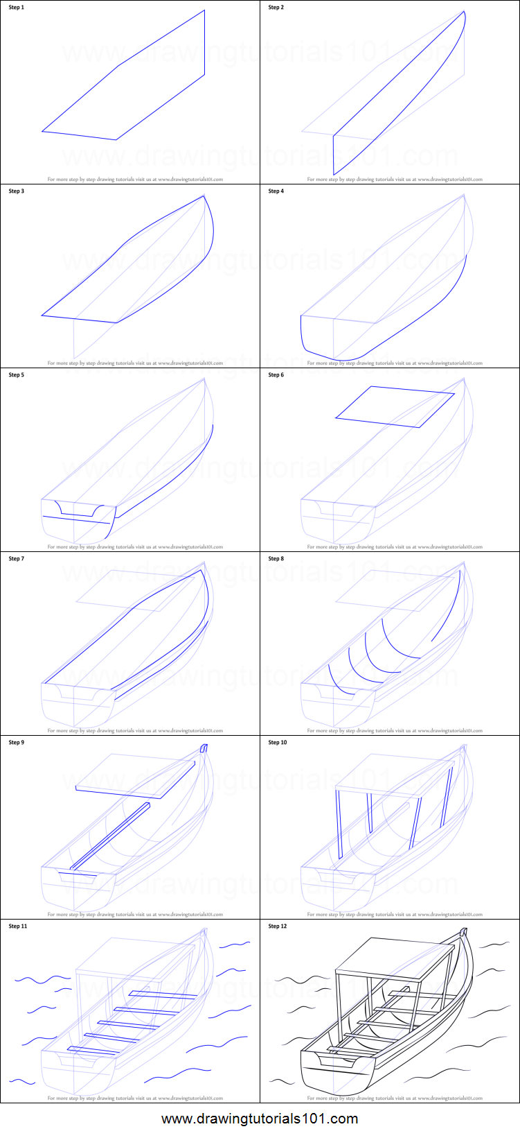 step by step how to draw a boat