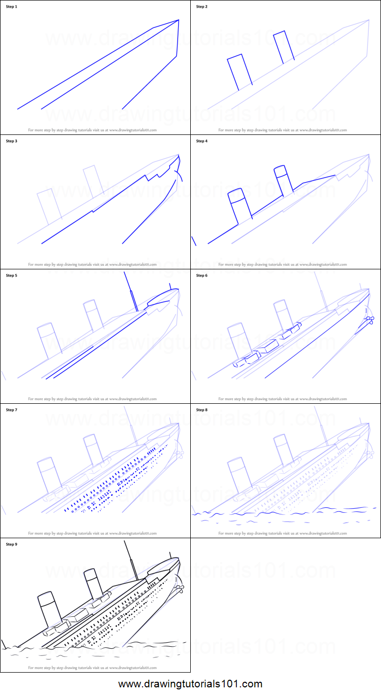 How to Draw Titanic Sinking printable step by step drawing