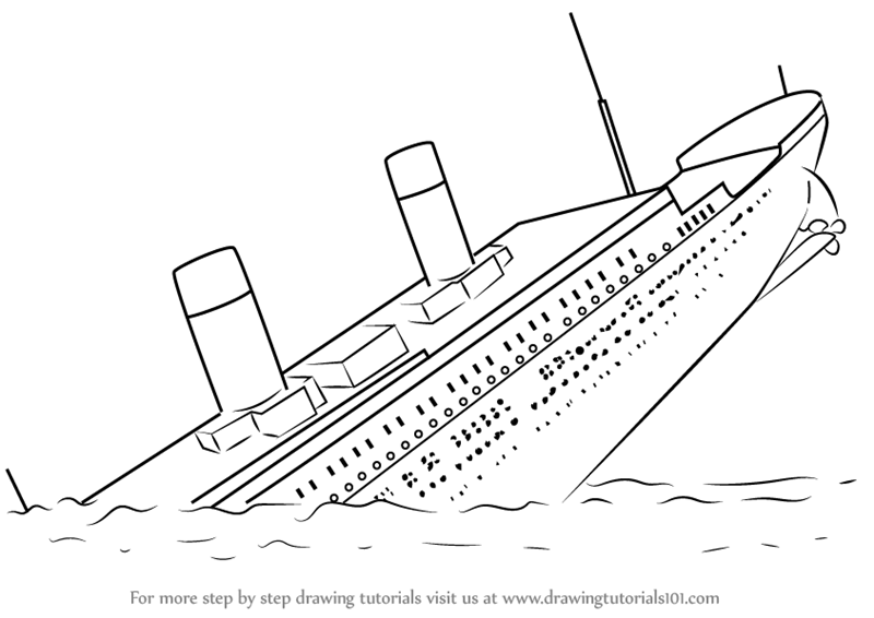 Learn How To Draw Titanic Sinking Boats And Ships Step By Step