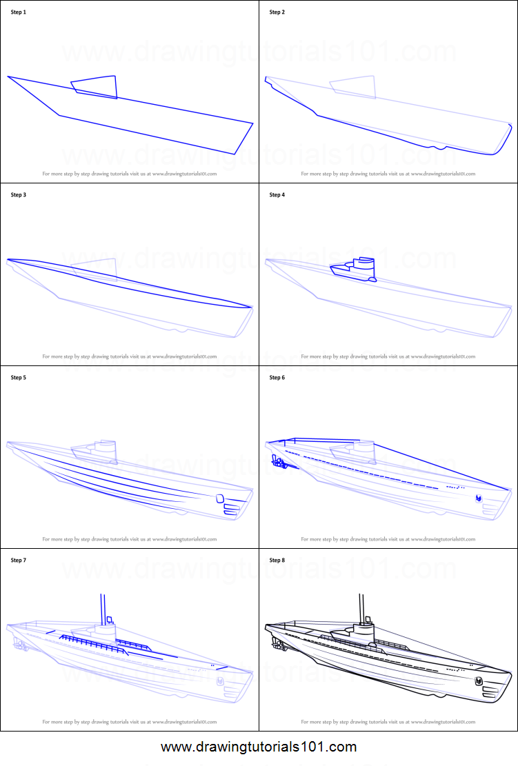How to Draw a U-boat printable step by step drawing sheet ... U Boat Schematics on