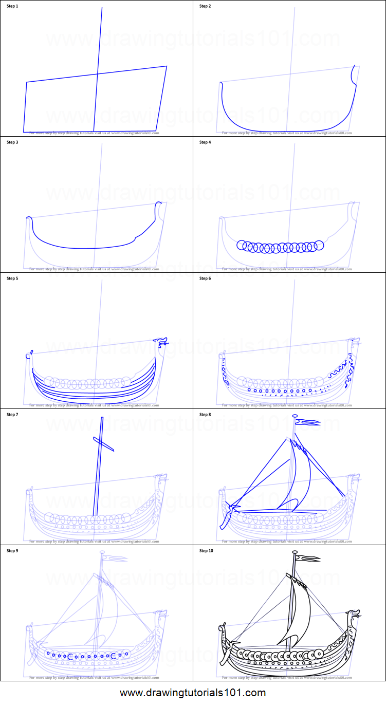 how to draw a viking ship printable step by step drawing sheet drawingtutorials101com