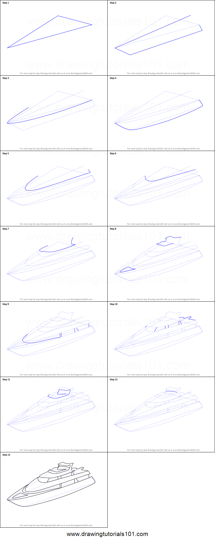 How to Draw a Yacht printable step by step drawing sheet ...