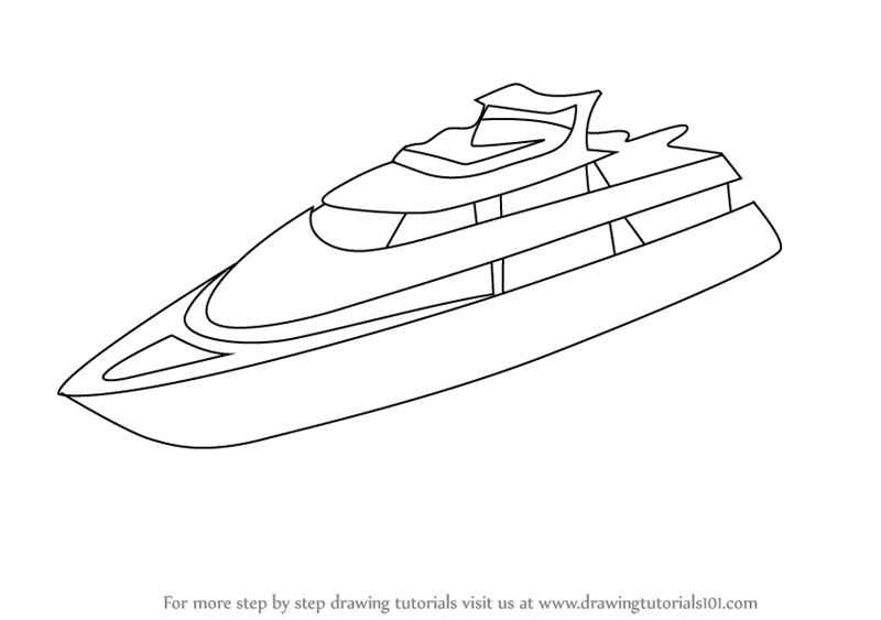 Learn How To Draw A Yacht Boats And Ships Step By Step Drawing