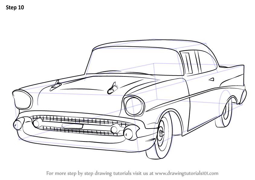 learn how to draw a 1957 chevy bel air  cars  step by step
