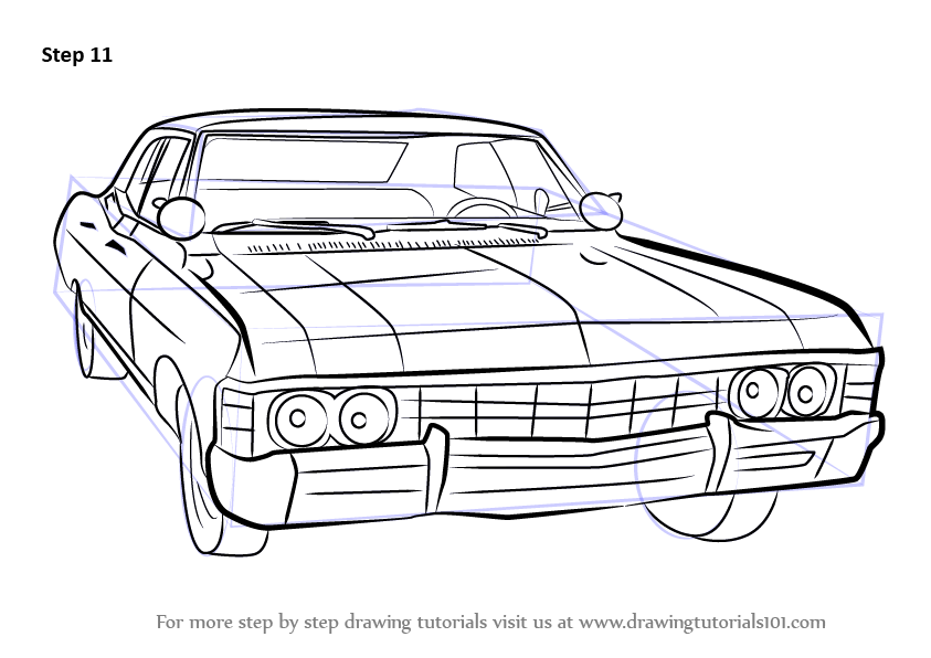 learn how to draw a 1967 chevy impala  cars  step by step