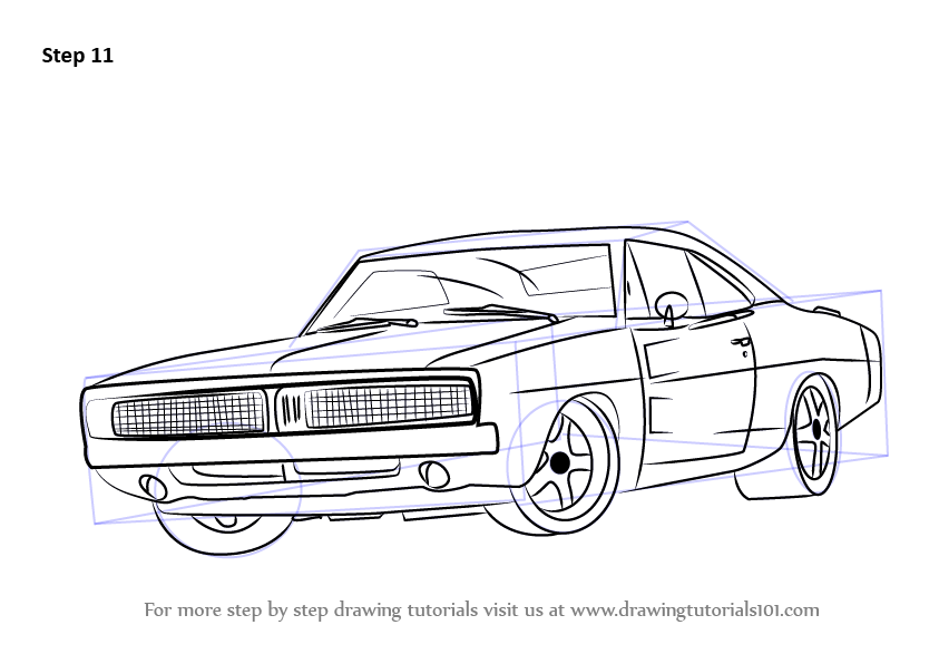 learn how to draw a 1969 dodge charger  cars  step by step