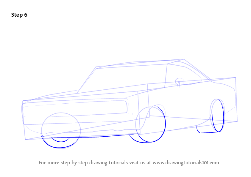 How To Draw Dodge Charger Step