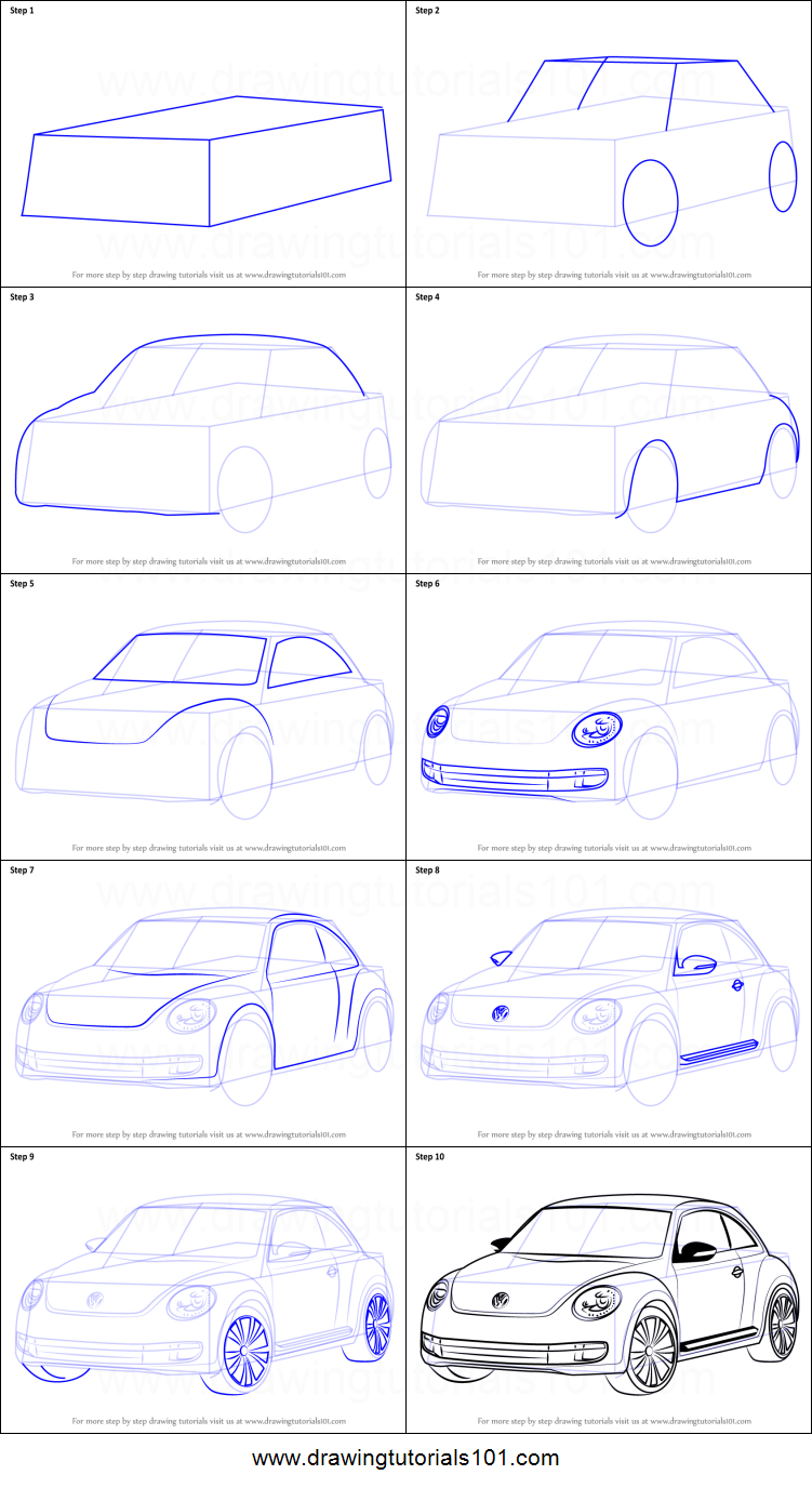 how to draw volkswagen beetle printable step by step drawing sheet drawingtutorials101com
