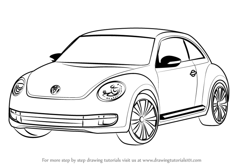 learn how to draw volkswagen beetle cars step by step drawing tutorials