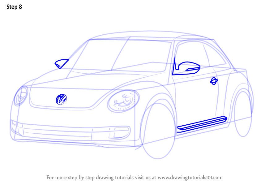 Learn How to Draw Volkswagen Beetle (Cars) Step by Step : Drawing Tutorials