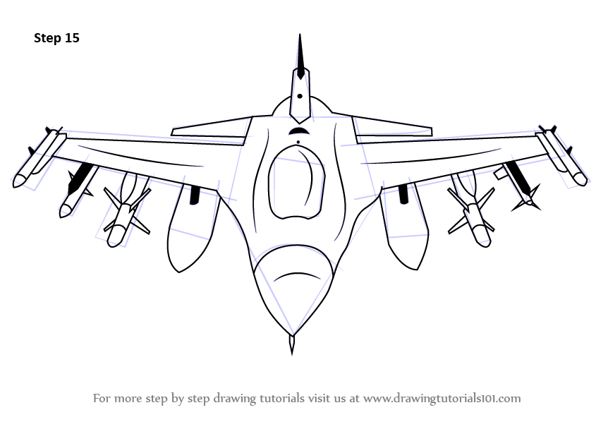 Step by Step How to Draw F16 Fighting Falcon