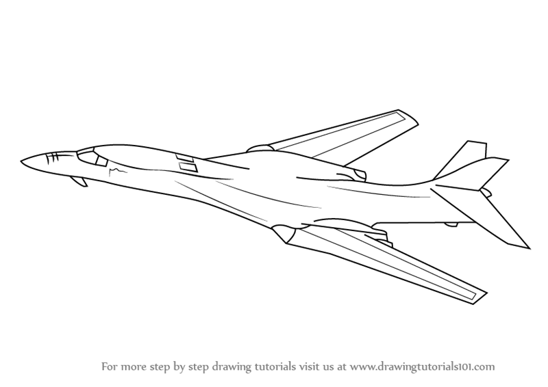 1b coloring pages | Learn How to Draw Rockwell B-1 Lancer (Military) Step by ...