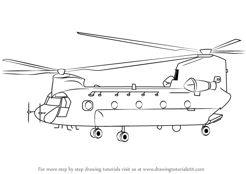 Line Drawing Helicopter : Learn how to draw a boeing ch chinook helicopter